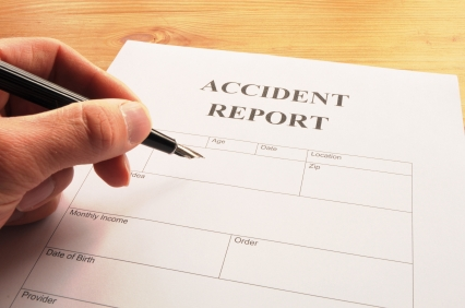 accident report form or document showing insurance concept